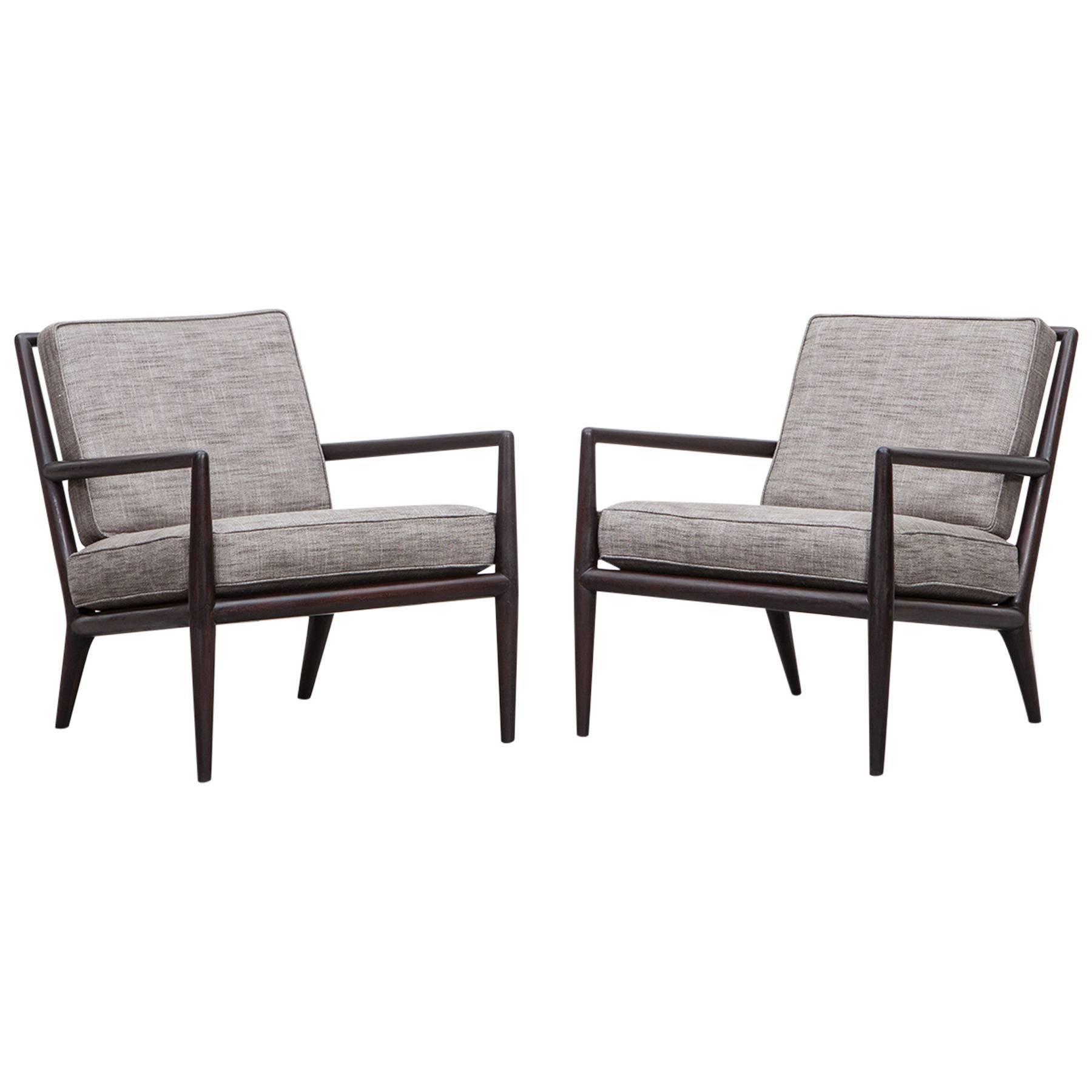 Pair of T. H. Robsjohn-Gibbings Lounge Chairs * NEW UPHOLSTERY *