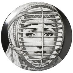 Atelier Fornasetti porcelain plate number 290, Italy circa 1990