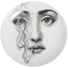 Atelier Fornasetti porcelain plate number 81, Italy circa 1990