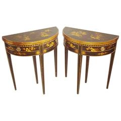 19th Century Pair of Chinoiserie Demilune Card Tables