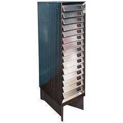 Old Polished Steel Filing Cabinet Set on Angular Base, circa 1930