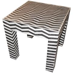 Black and White Square Side Table, Indonesia, Contemporary