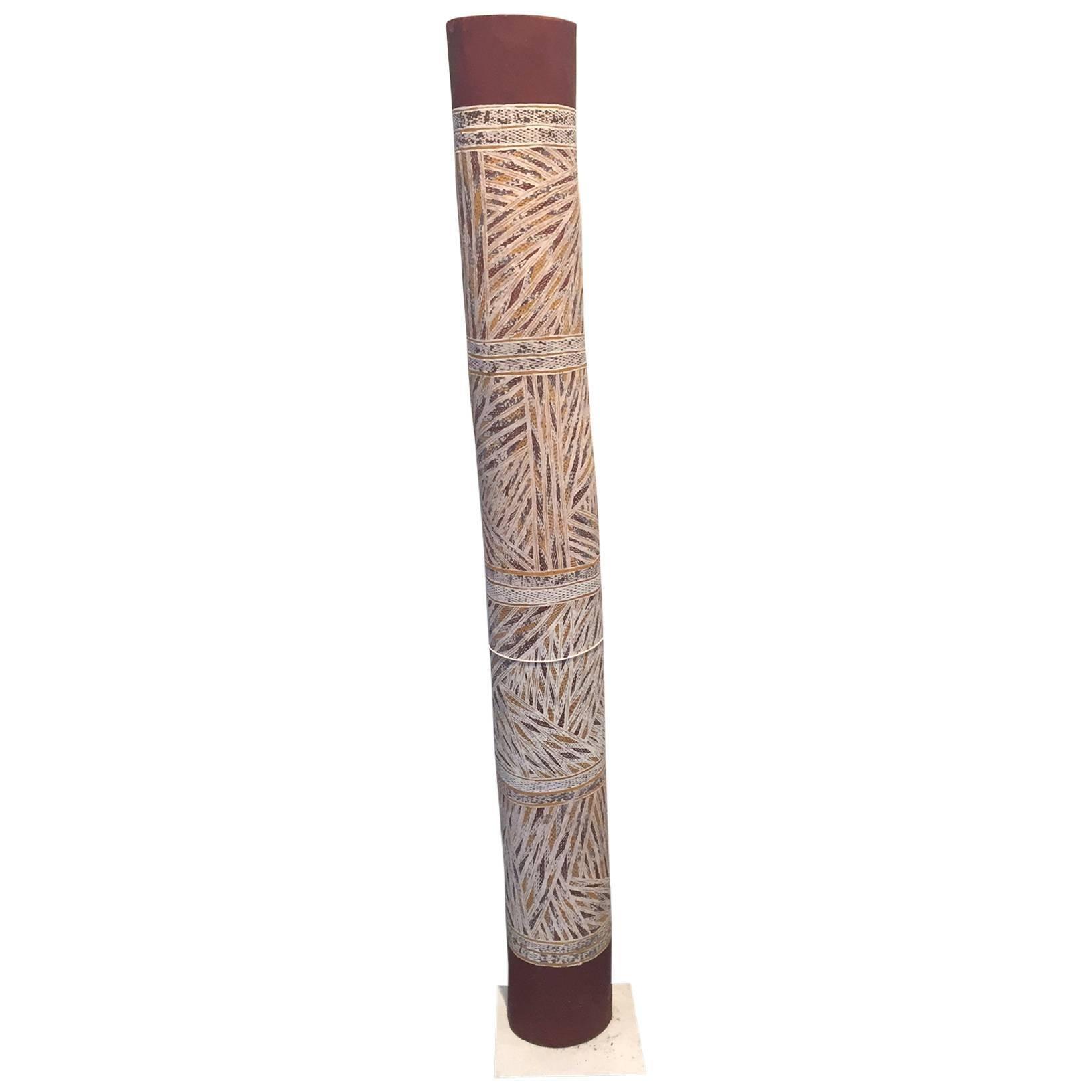 Australian Aboriginal Painting on Hollow Log