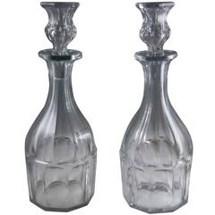 Pair of Mid-19th Century Panel Cut Decanters Attributed to Baccarat