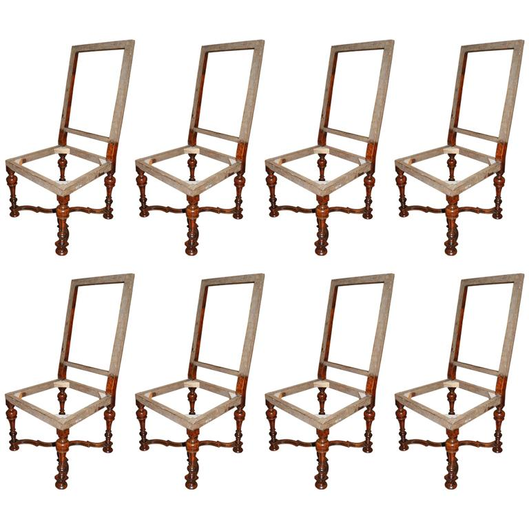 Set of Eight Louis XIV Walnut Chairs 2