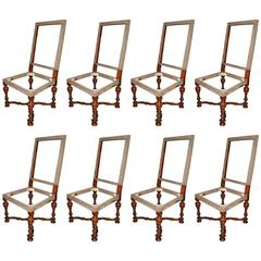Set of Eight Louis XIV Walnut Chairs