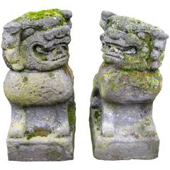 Pair of 19th Century Chinese Stone Foo Dogs