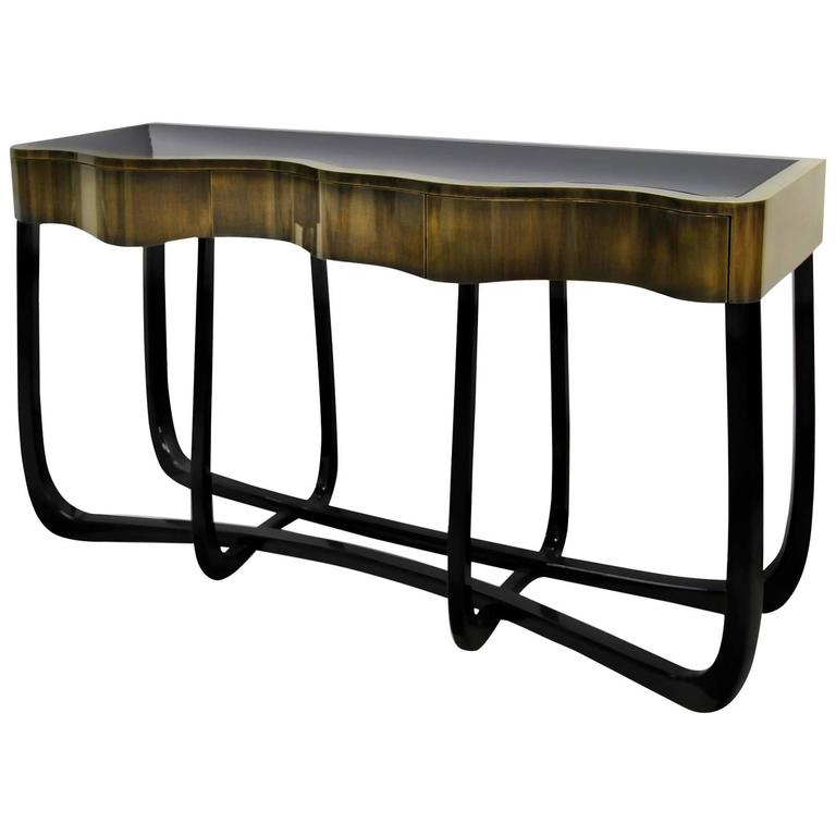 Karma Console Table in Copper and Brass with Mahogany Legs