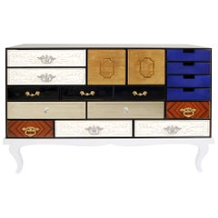 Multi Finishes Sideboard with Wooden Base and Glass Structure
