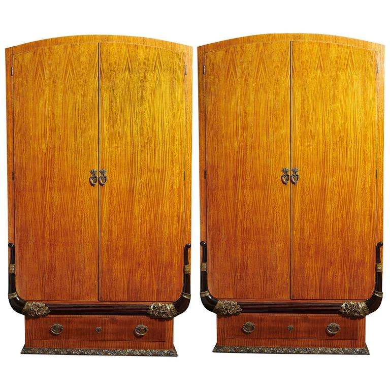 Pair of Art Deco Cabinets or Armoires in the Manner of Sue et Mare For Sale