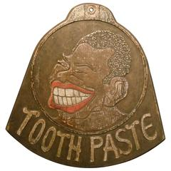 Folk Art Carved, Black Americana, Tooth Paste Trade Sign, Late 19th Century