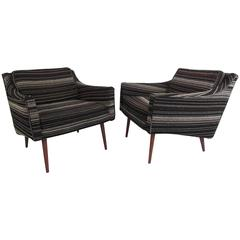 Stylish Pair Of Vintage Modern Lounge Chairs
