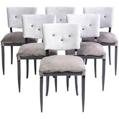 Chic Set of Six Petit Art Deco Dining Chairs
