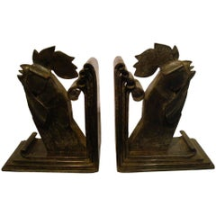 Edgar Brandt Art Deco Pair of Wrought Iron Rooster Bookends