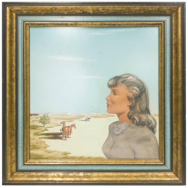 Portrait of Woman on Dunes with Horses Oil Painting