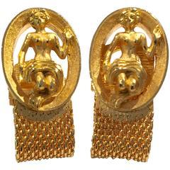 Mid-Century Swank Gold Mesh Mermaid Cufflinks
