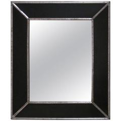 19th Century French Black Mirror with Silver Trim