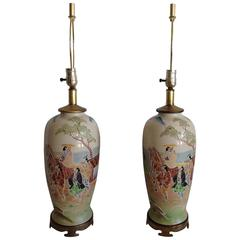 Antique Pair Of Japanese Porcelain Satsuma Hand Painted Moriage Lamps