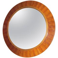 Mid-Century Extra Large Round Rosewood Border Mirror, France