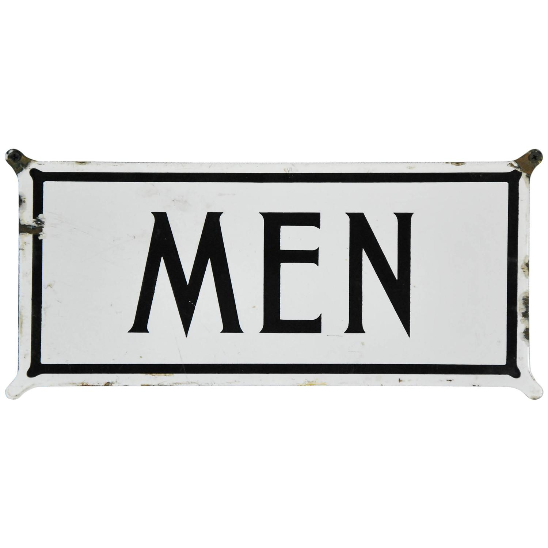 1920 Enamel Two-Sided Restroom Sign For Sale At 1stdibs