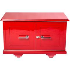 Chic Art Deco Sideboard in Cherry Red and Black Interior