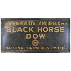 1930 Original Folk Art Black Horse Beer Advertising Sign