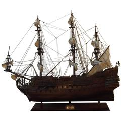Intricate Mahogany and Teakwood Large Ship Model of a Spanish Ship