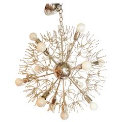 Italian Mid-Century Thirteen-Light Chrome Sputnik Chandelier with Starbursts