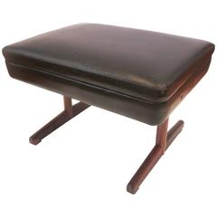 Danish Modern Rosewood and Leather Ottoman or Stool