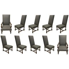 Ten High Back Dining Chairs in Mahogany, USA, Early 2000s