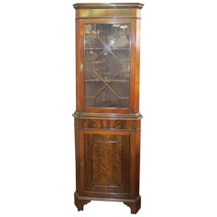 Old English Flame Mahogany Chippendale Style Single Door Corner Cupboard