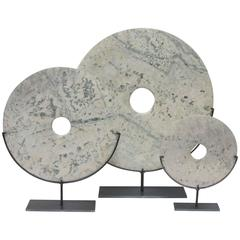 Set of Three Cream and Grey Disc Sculptures, China, Contemporary