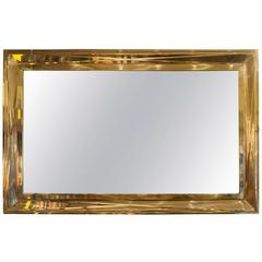 Mid-Century French Large-Scale Brass Mirror