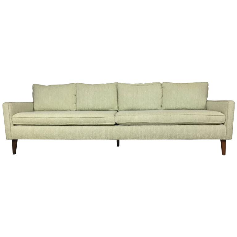 Mid-Century Celery Wool Boucle and Walnut Sofa and Chair Set