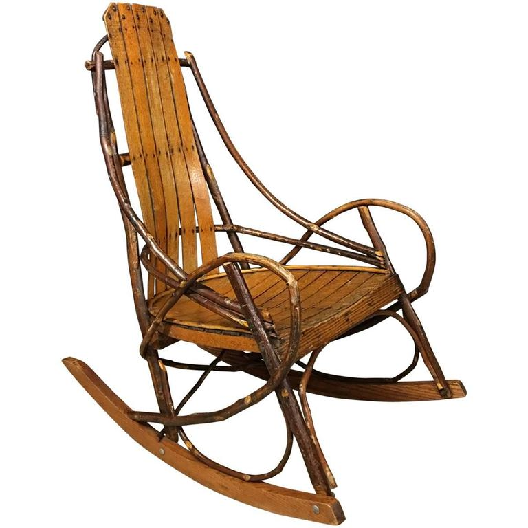 Vintage American Adirondack Rocking Chair, 1920s For Sale at 1stdibs