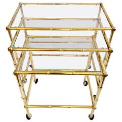 Set of Three Brass Faux Bamboo Nesting Tables, Italy