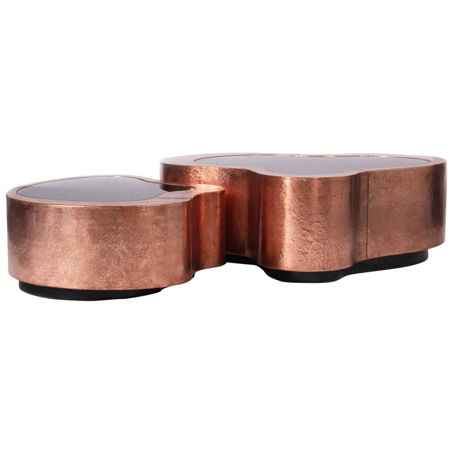 Dalia Coffee Table Set Of Two In Copper With Black Mirror