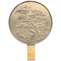 Japan Lovely Antique Hand Mirror in Gilt Bronze with Auspicious Cranes