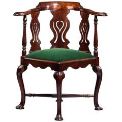 18th Century Chinese Export Carved Padouk Corner Chair