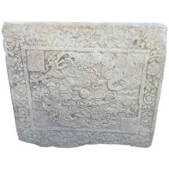 "China Fine Old Garden Marble Panel ""Dragons & Wish Granting Jewel"" , Qing Dynast"