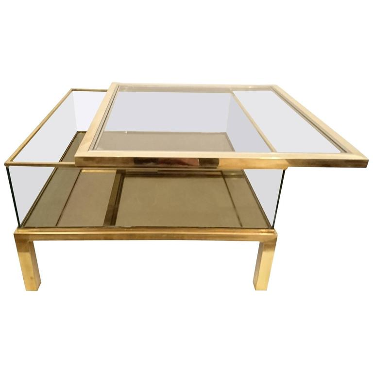 Sliding Top Coffee Table Glass And Brass For