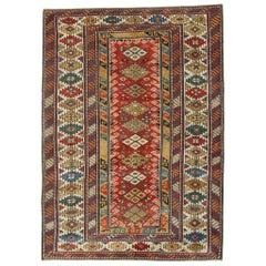Handmade Antique Caucasian Kazak Rug, Red Area Rugs for Sale, Antique Rugs