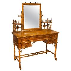 Bird's-Eye Maple Faux Bamboo Dressing Table and Chair by R.J. Horner & Co