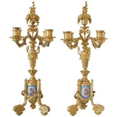 Pair of Napoleon III Period French Ormolu Bronze and Sevres Porcelain Candelabra
