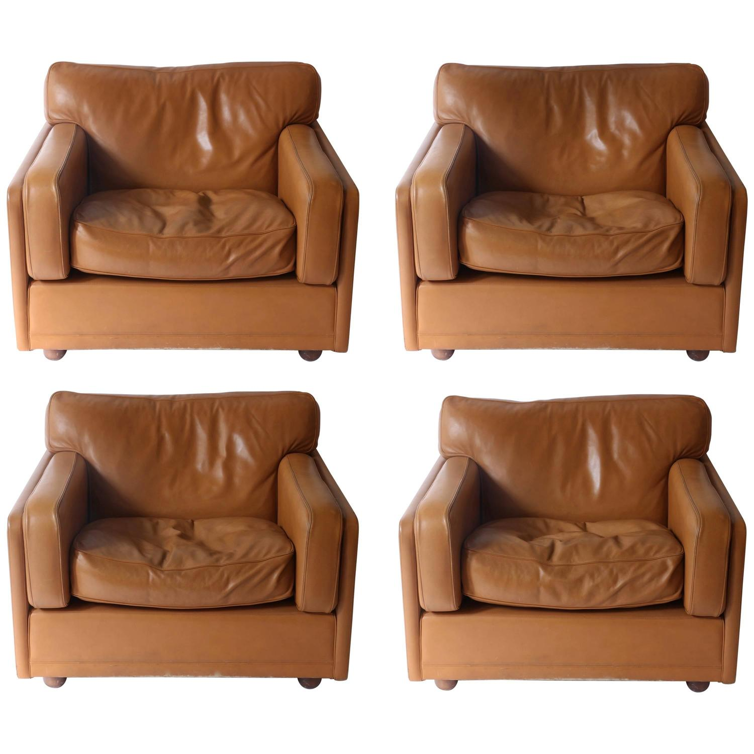 Leather sofa by poltrona frau at 1stdibs - Set Of Three Club Chairs In Brown Honey Color Made By Poltrona Frau 1978