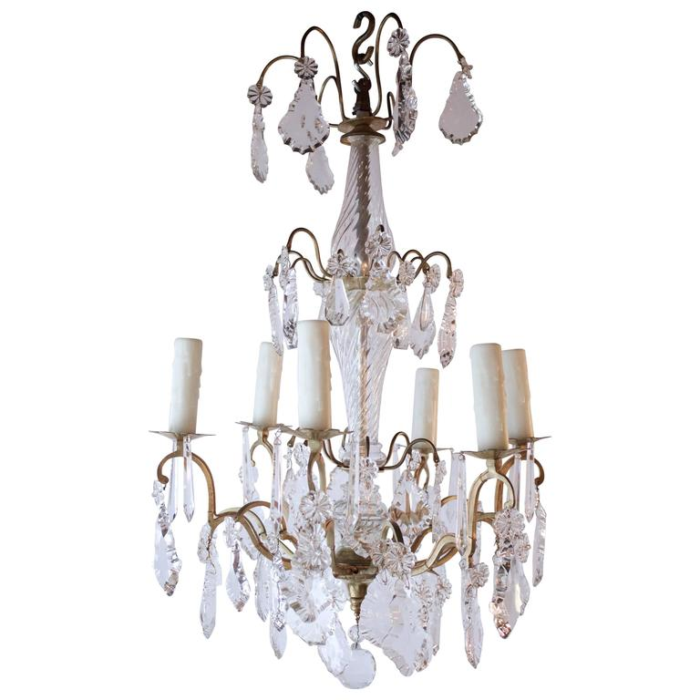 French Six Lights Gilded Bronze and Crystal Chandelier