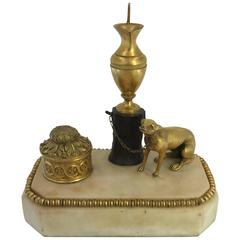 George III Ormolu, Patinated Bronze and White Marble Inkwell, circa 1800