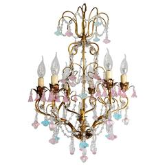 French Gilded Chandelier with Venetian Blue and Pink Murano Flowers and Stars
