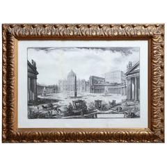 19th Century Piranesi Engraving, View of Rome in a Gilded Frame