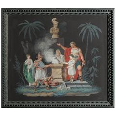 "19th Century Continental Gouache of Allegorical Scene ""Painting"""